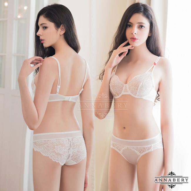 1f4033d5b9 Underwired Bra Set-Non-Padded Annabery Lingerie -- Romantic girl!Simple  elegant embroidery lace No pad Rims underwear Bra set-ANNA MU