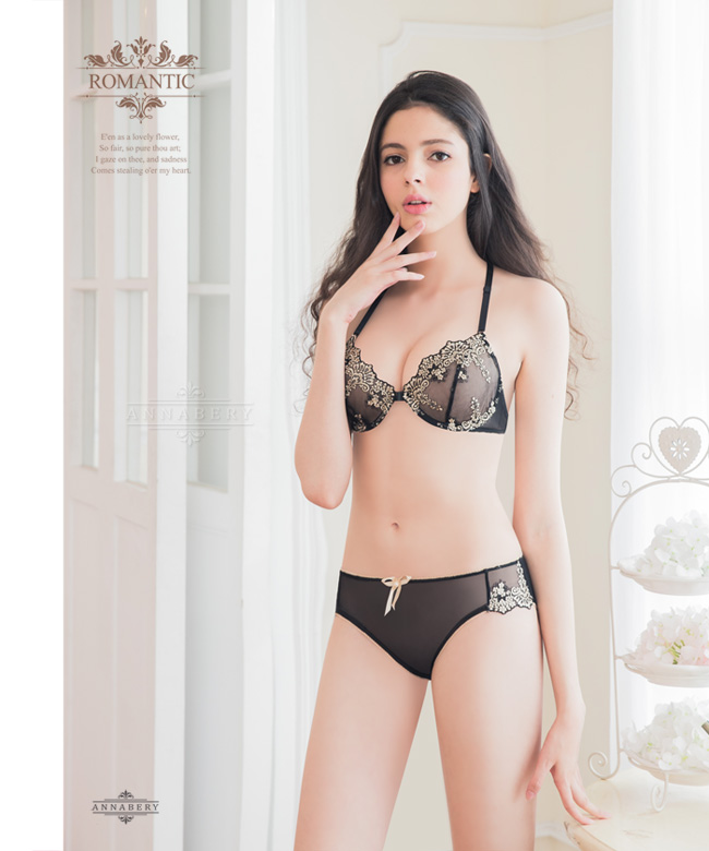 f510a9e898 Underwired Bra Set-Non-Padded Annabery Lingerie -- Elegant girl!Romantic  beautiful embroidery lace No pad Rims underwear Bra set-ANNA MU